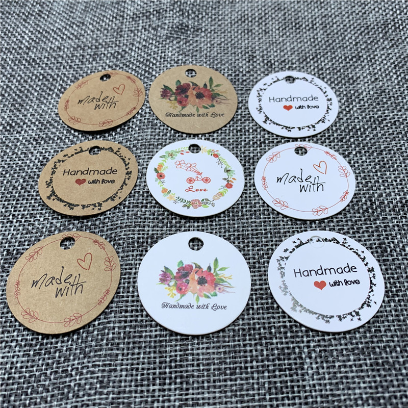 Packaging Label 100pcs Brown Kraft /black/white Paper Tags DIY Round Label Wedding Gift Decorating Tag 3cm For Gift Box