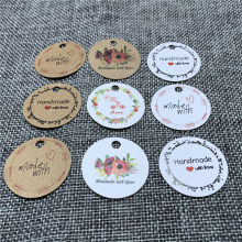 Packaging Label 100pcs Brown Kraft /black/white Paper Tags DIY round Label Wedding Gift Decorating Tag 3cm for gift box(China)