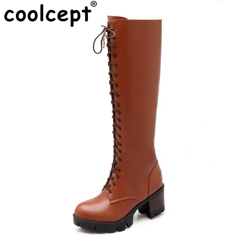 Coolcept Women Square Heels Over Knee Boots Lace Up Knight Boots Platform Shoes Ladies Long Boots Warm Footwear Size 34-43