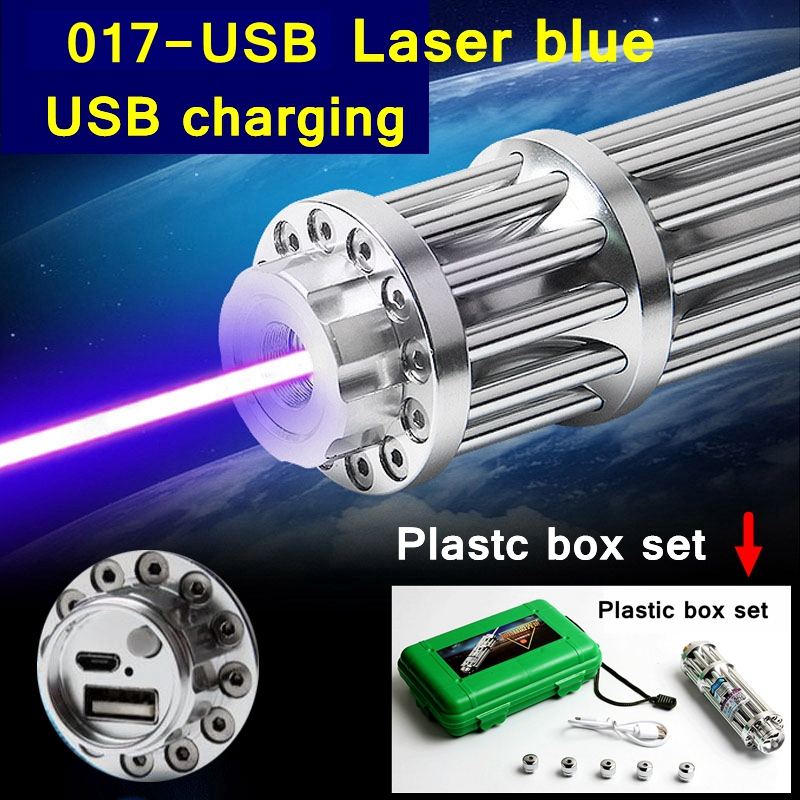 [ReadStar]2017 Style 017 USB High Laser Blue laser pointer Laser pen USB charging Plastic box set include battery charger