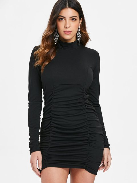 8126eb24d27 Wipalo Sexy Short Tight Women Dress Autumn Mock Neck Long Sleeve Ruched  Mini Bodycon Dress Female