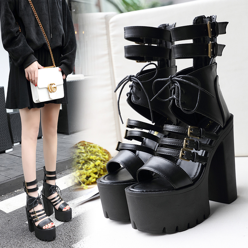 2018 Casual Women Super High Heels Sandals Wedges Hollow out Leather Platform Sandals Buckle Strap Lady Black Gladiator Sandals