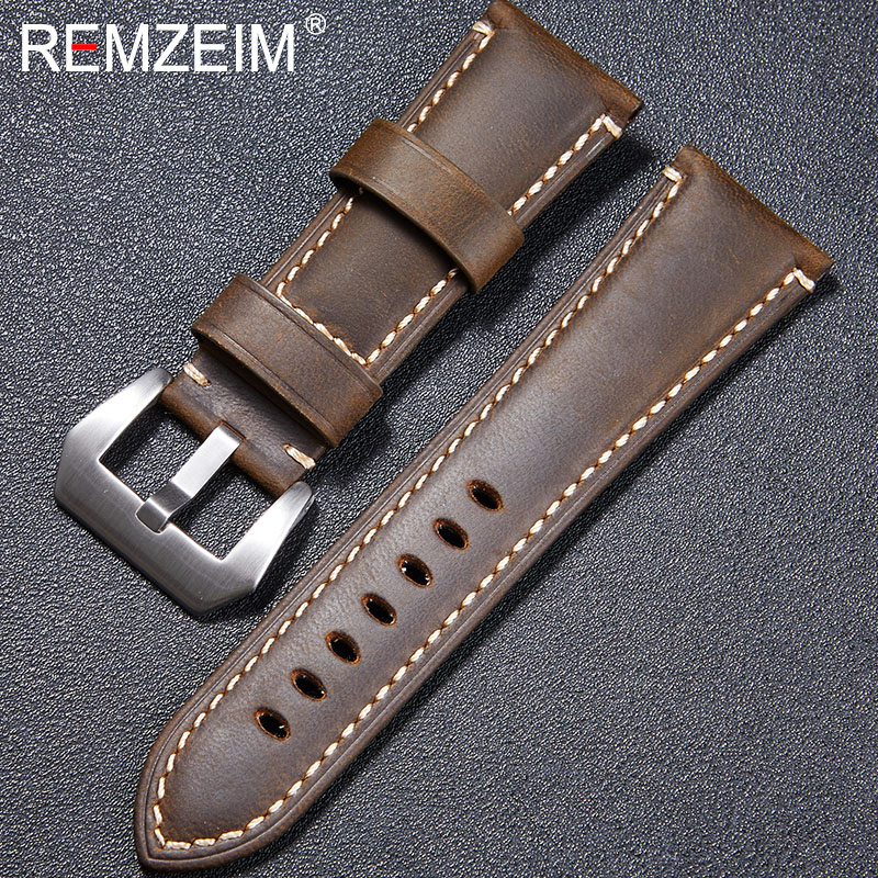 High Quality Vintage Crazy Horse Genuine Leather Watchband Red Blue Brown Watch Straps 22mm 24mm 26mm Wristband Solid Buckle