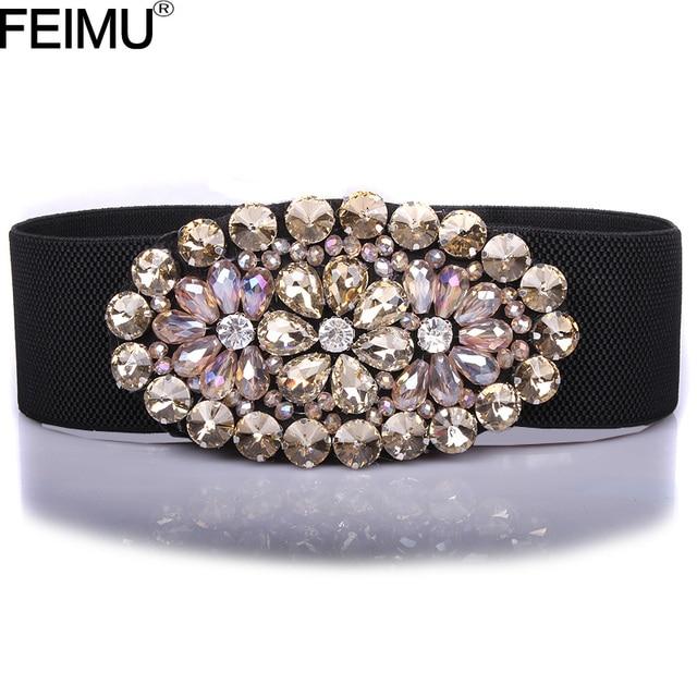 2016 Hot Sale Shining Crystal Flower Bridal Belts and Sash For Ladies Elastic Wide Evening Party Fashion cinturon novia de PF03