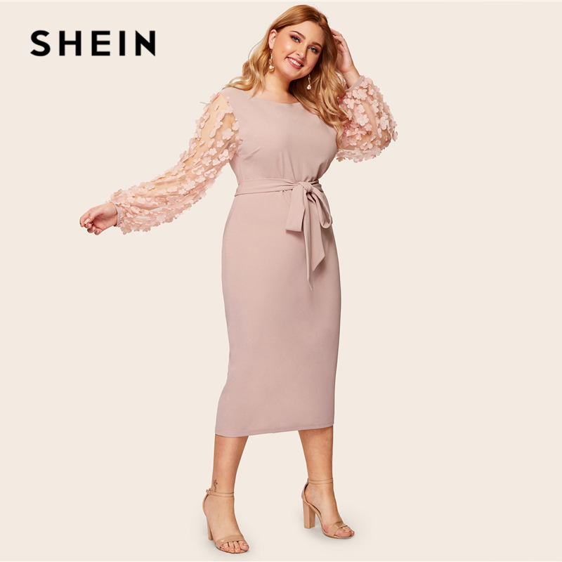 SHEIN Plus Size Pink 3D Appliques Mesh Sleeve Belted Pencil Dres 2019 Women Romantic Elegant Bishop Sleeve High Waist Dresses