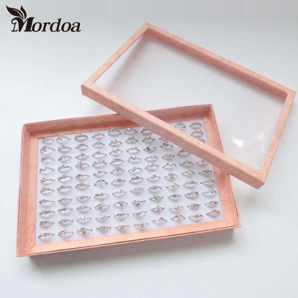 Pink Border White Sponge 100 Slots Finger Ring Storage Ear Stud Display Box Organizer Show Case Jewelry Display