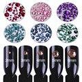 7 Bolsas 1000 Unids Rhinestone Colorido de Fondo Plano Tamaño Mezclado Manicura Nail Art Decoración