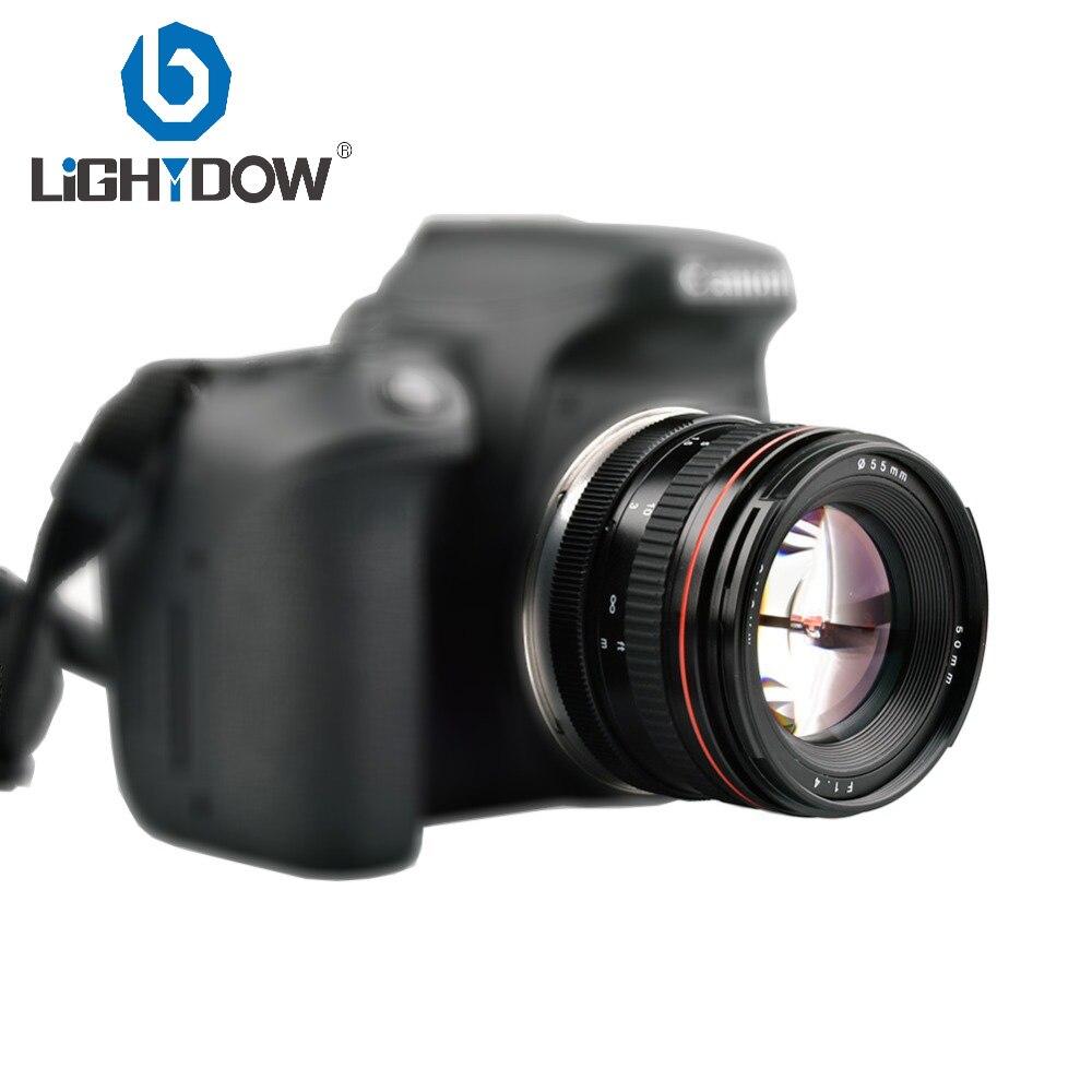 Objectif de caméra de mise au point manuelle Lightdow 50mm F1.4 à grande ouverture pour Canon 550D 760D 77D 80D 5D4 Nikon D5100 D7100 D810 D750