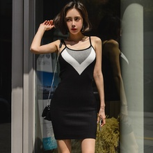 Sexy Women's Dress 2019 Sleeveless Sling Dress Knitting Package Hip V-neck Dresses Sundress Female Summer buenos ninos party night dress sexy v neck package hip dress