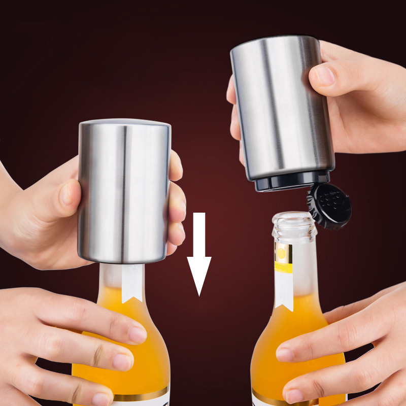 Portable Magnetic Automatic Bottle Opener Stainless Steel Push Down Wine Beer Openers Practical Kitchen Accessories