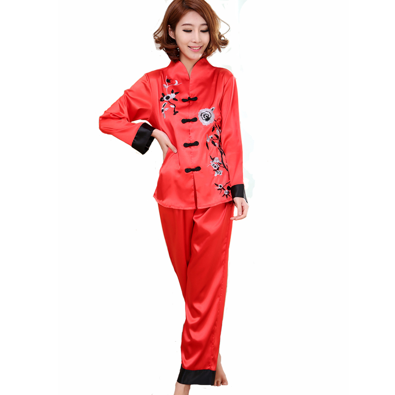 Hot Sale Red Chinese Style Women Silk Pajamas Set Embroidery Pyjamas Suit  Handmade Button Sleepwear Flower 2PCS M L XL WP001 98341762e