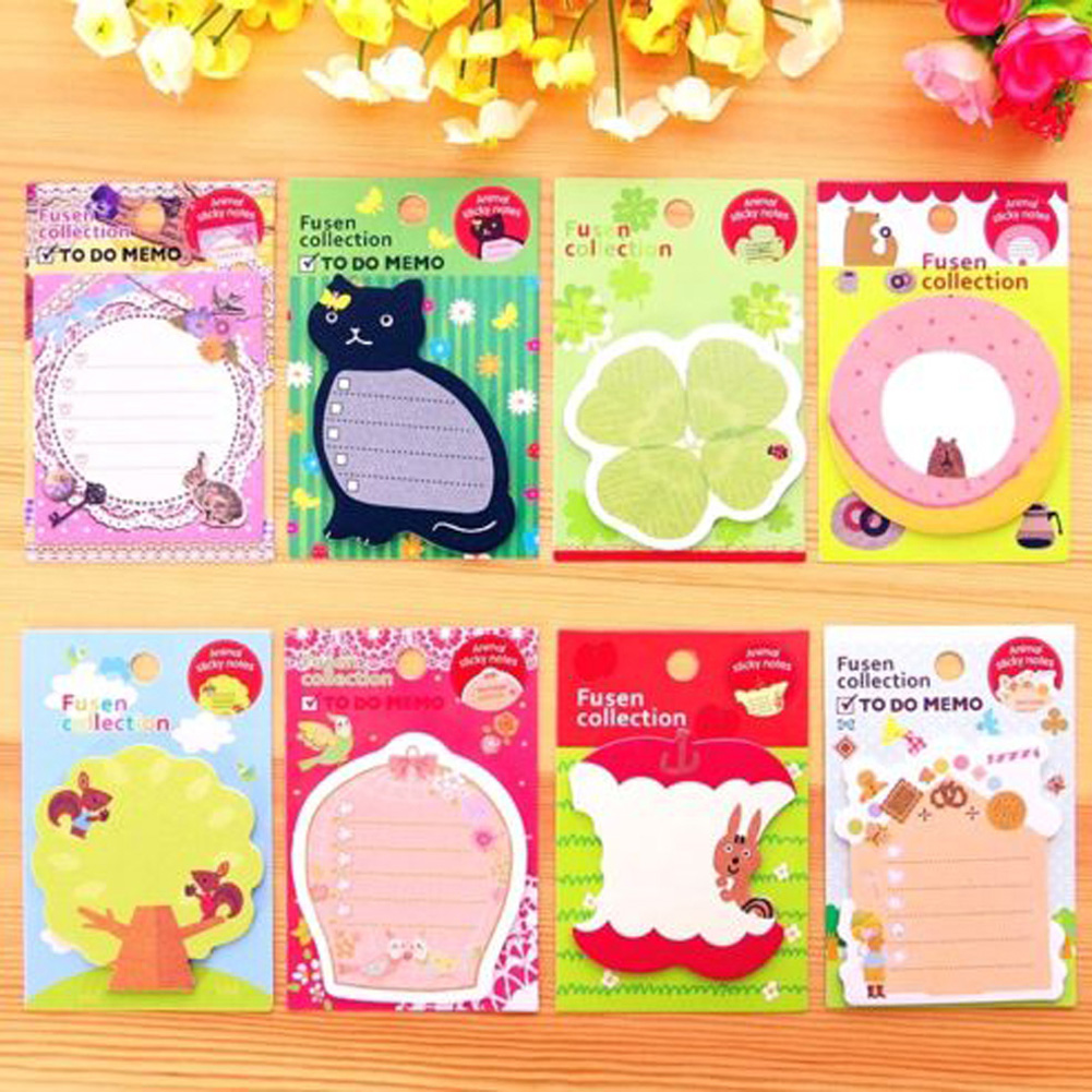 Creative Stationery Cute Paper Memo Pad / Sticker Post Sticky Notes Notepad School Office Supplies RANDOM