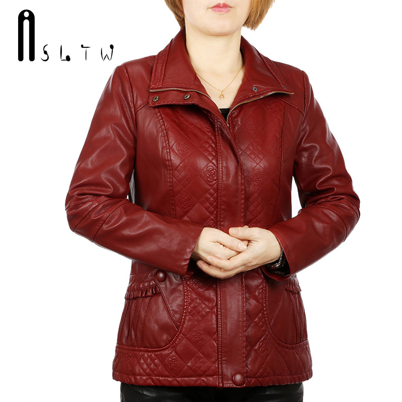ASLTW XL-6XL Pu   Leather   Jacket Women New Autumn Turn Down Collar Zipper Solid Coat Plus Size Women's   Leather   Jacket