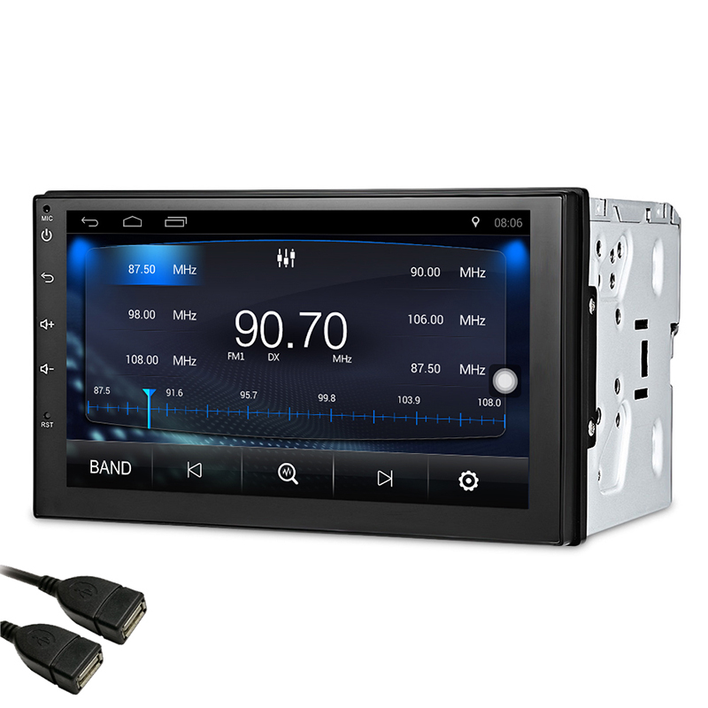 7 Inch 1024 Car Radio 2 Din Android 7.1 Car DVD Player GPS Wifi Bluetooth Radio Quad Core Steering-wheel Rear View Camera Player
