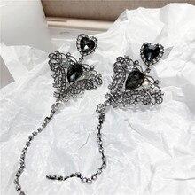 Fashion Black Heart Tassel Long Earrings For Women Party Jewelry Statement Drop Dangle Earrings Wholesale цена
