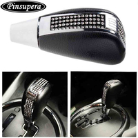 Bling Bling Crystal Diamond Rhinestone Shift Knob Manual Automatic BUTTON LESS Operated Shifter Universal Fit CarTruck