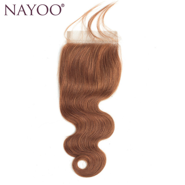 Nayoo Gold Blonde Middle Part Closure Brazilian Body Wave Human Hair