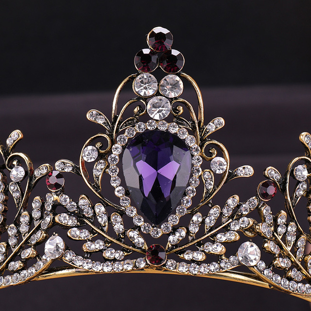 KMVEXO 2019 New Baroque Purple Crystal Tiara Crown Bridal Hair Accessories Brides Tiaras Wedding Headpiece Princess Queen Diadem