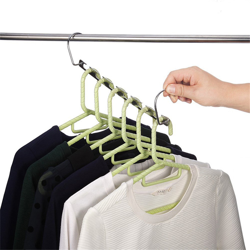 Useful 6-Hole Space Saving Clothes Hanger Magic Closet Wardrobe Space Saving Organizer Rack Hanger TV Metal Wonder Hanger