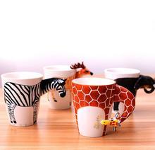 Kreative 3D dreidimensionale handbemalte keramik-becher Tiere Kaffeetassen Cartoon Cups Neue ankunft Giraffe Affe elephant tassen
