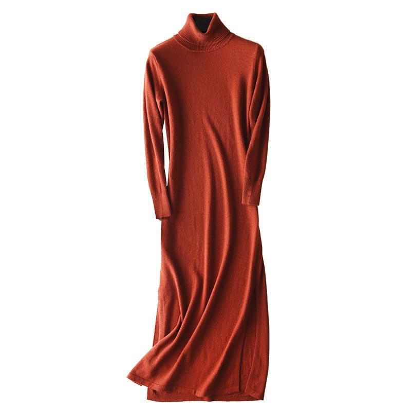 턴 다운 칼라 풀 슬리브 30 캐시미어 니트 드레스 사이드 슬릿 슬림 롱 드레스 여성 롱 스웨터 니트 가을 겨울 드레스 #941-에서드레스부터 여성 의류 의  그룹 1