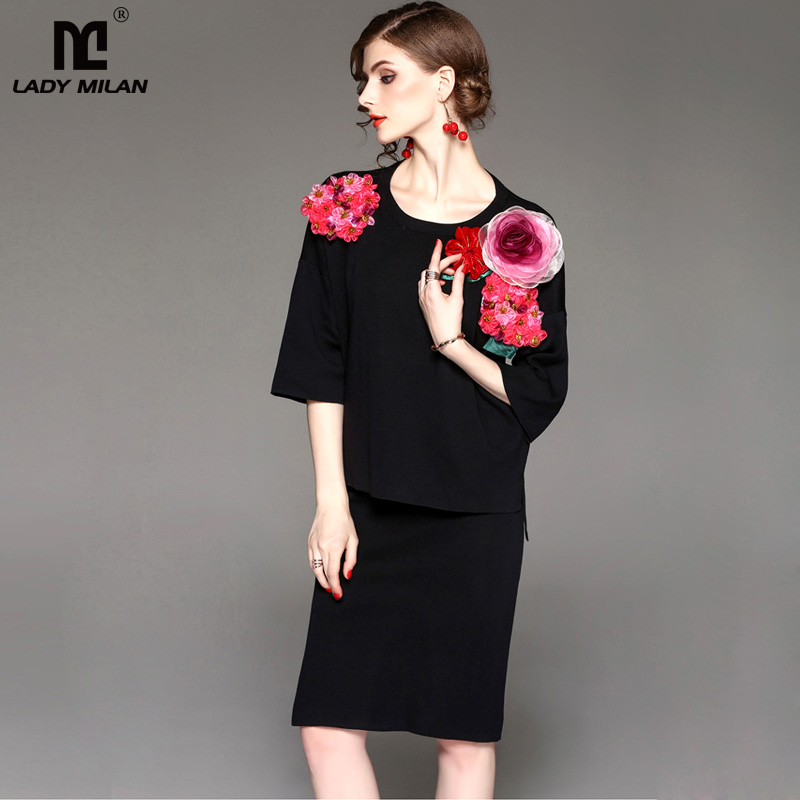 New Arrival 2018 Spring Womens O Neck 3/4 Sleeves Appliques Embroidery Floral Blouse with Knitted Skirts Elegant Runway Twinset