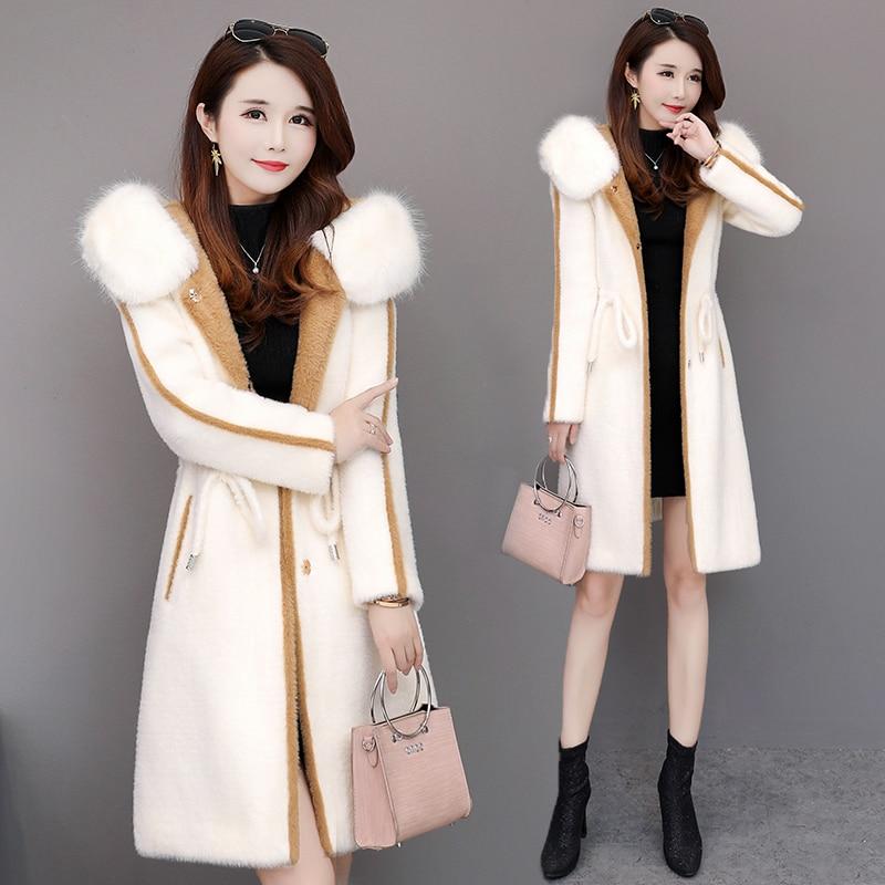 Version camel Coréenne Blanc Style Tissu Polaire Mi Mode long Nouvelle Vison Chapeau Femelle Pardessus 2019 D'or Hiver UvzqZ1aw