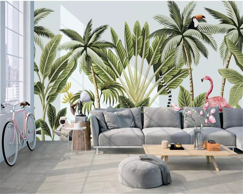 Beibehang Custom 3d wallpaper modern hand painted rainforest banana tree flamingo mural TV background wall 3d wallpaper tapety in Wallpapers from Home Improvement