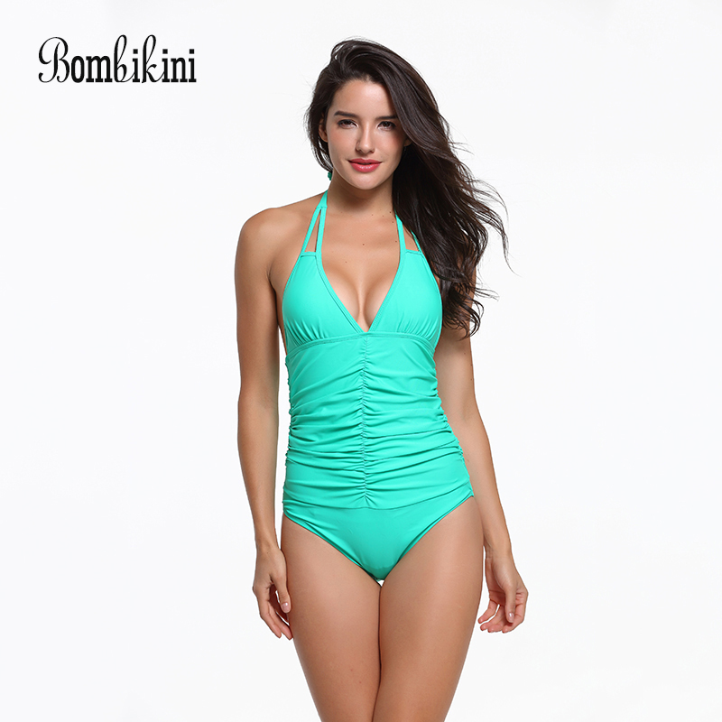 Fold Swimsuit Halter Neck Swimwear Women Solid One Piece Bathing Suit Push Up Monokini Backless Bodysuit Female Bach Wear sexy plus size swimwear one piece swimsuit women backless monokini trikini halter push up bathing suit beach wear bathing wear