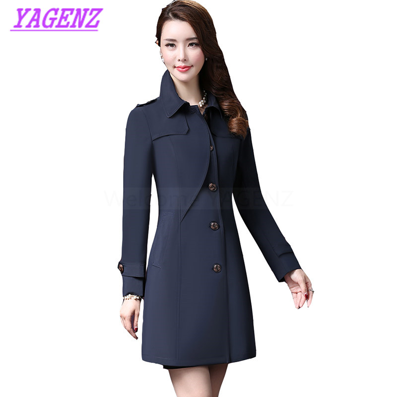 Spring Autumn Windbreaker Coat Women Fashion Long Elegant   Trench   coat Young Women Party collar Blue Plus size Overcoat M-3XL 305
