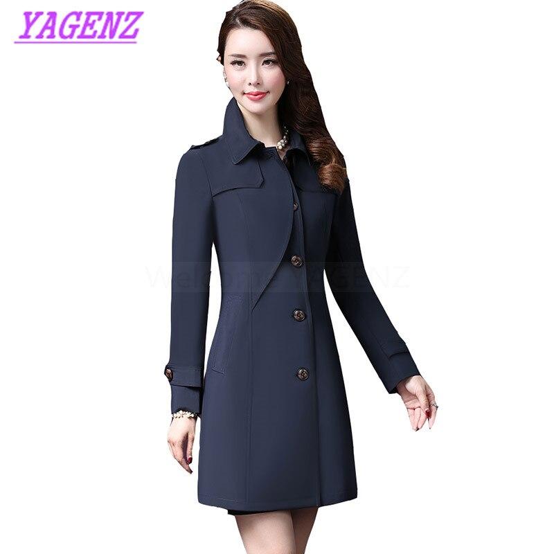 Spring Autumn Windbreaker Coat Women Fashion Long Elegant Tr