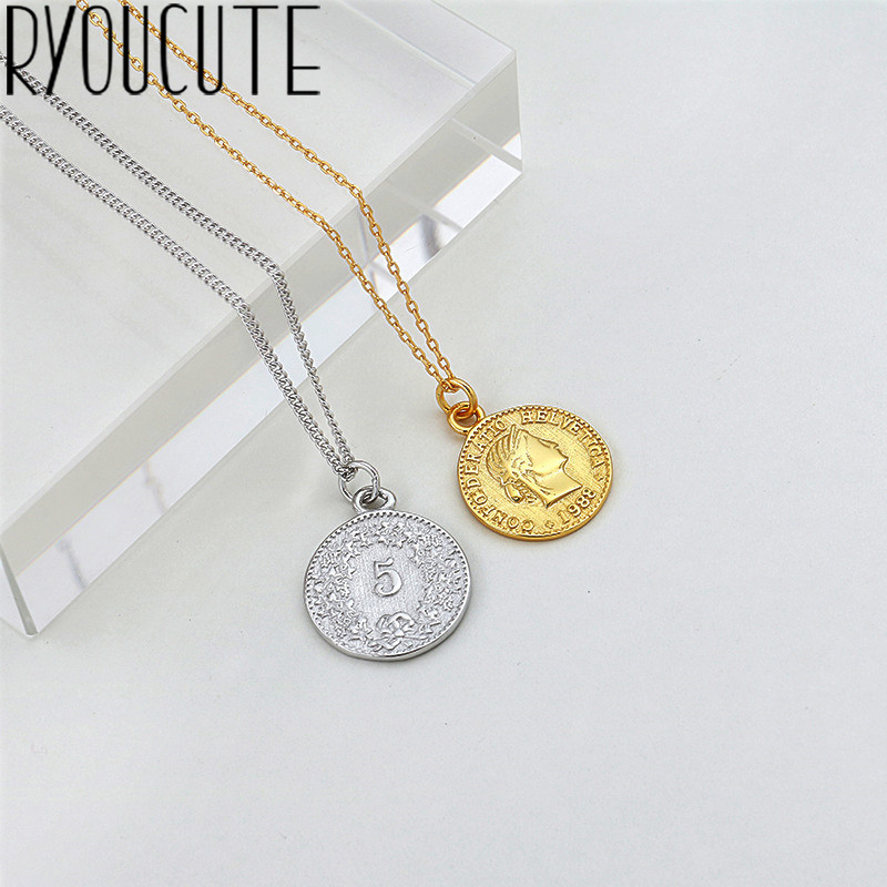 US $2 88 20% OFF|Bohemia Real 925 Sterling Silver Long Round Coin Choker  Necklaces For Women Wedding Jewelry Gift Boho Necklace joyas de plata-in