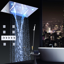 Bathroom Conealed Shower Set Faucets Panel Hot and cold Water Mixer LED Ceiling Showerhead Rainfall Waterfall Bath Body Jets цены