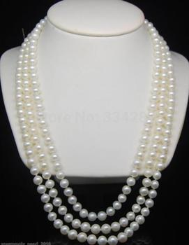 "Hot sale new Style >>>Fine 7-8mm AAA white pearl 925S necklaces 25""27""29"""