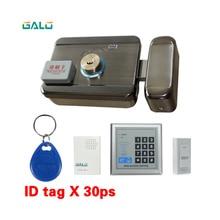 Elektrikli kapı kapı kilidi RFID şifre klavye kontrol açık ve kapalı akıllı kilit güvenlik kapısı + kapı zili çıkış düğmesi