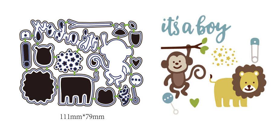Новый Скрапбукинг Die обезьяна Лев это мальчик металла умереть DIY 3D фотоальбом тиснение с Die Декор ножи формы 11,1x7,9 см