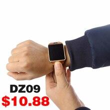 Soporte de múltiples idiomas smart watch dz09 whatsapp para android iphone cámara bluetooth reloj smartwatch teléfono
