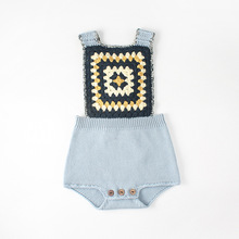 Summer baby girl boys rompers Infant Baby Knitted Sleeveless jumpsuit newborn Square Collar Cross strap Clothes