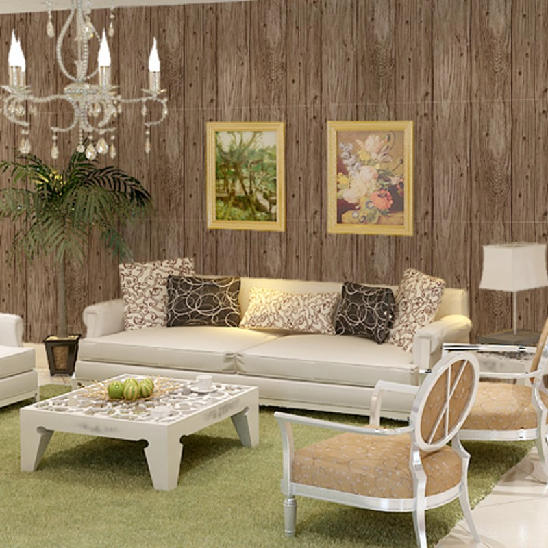 beibehang Simulation wood plank wood flooring wallpaper clothing store cafe restaurant hotel library backdrop wallpaper