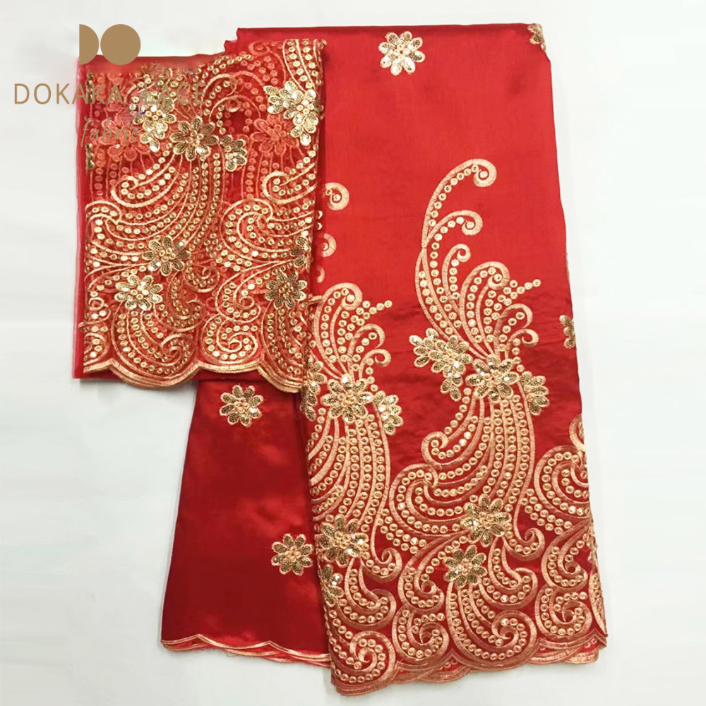 Red Color African George Lace Wedding Fabric With Net Lace Sequined Guipure High Quality Gold Line