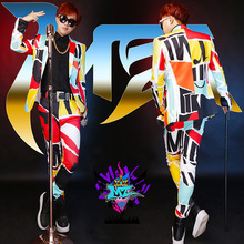 S-5XL NEW 2017 Men singer DJ GD Europe US show irregular mosaic color suit Costume costumes clothing formal dress Men's jackets