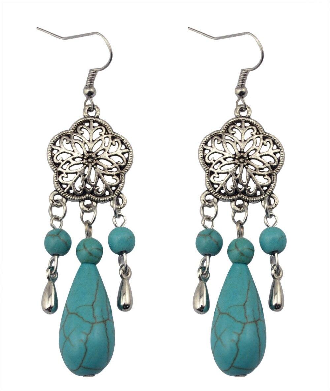 27b12d431819 Bohemio étnico Flor del hueco de metal tibetano piedra verde perlas borla  de la vendimia cuelga los pendientes de gota para las mujeres regalo de  joyería