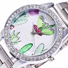 Женева цветочным узором алмазный сплав Циферблат Серебряный Нержавеющаясталь ремешок 20 мм дамы пару Роскошные Кварцевые часы Для женщин часы C405