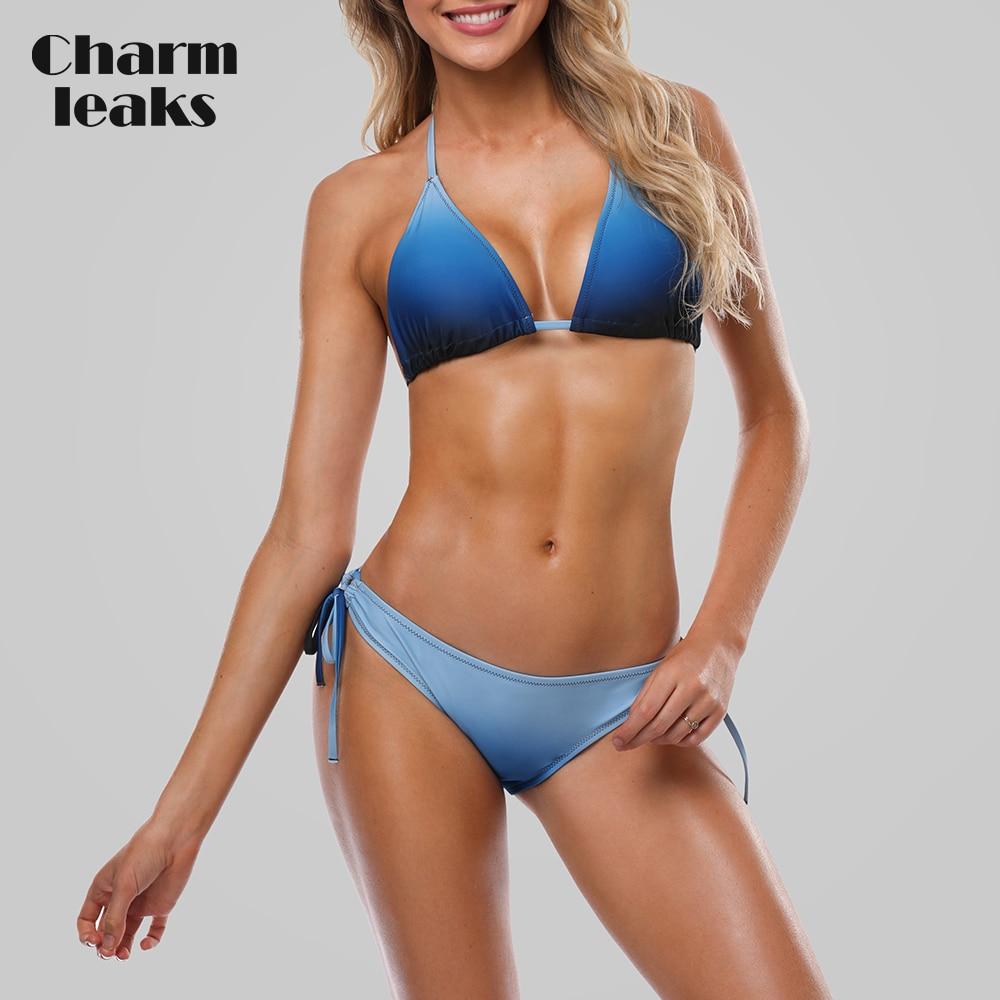 Charmleaks Women Bikini Set Halter Swimwear Gradient Swimsuit Side Bandage Bathing Suit Push Up Beachwear Sexy Bikini