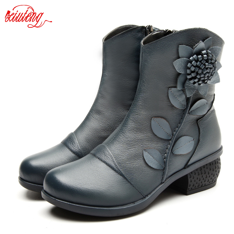 Women Boots Shoes Woman Handmade Vintage Genuine Leather Low Heeled Shoe Round Toe High Quqlity Shoes Winter Fashion Shoes Women