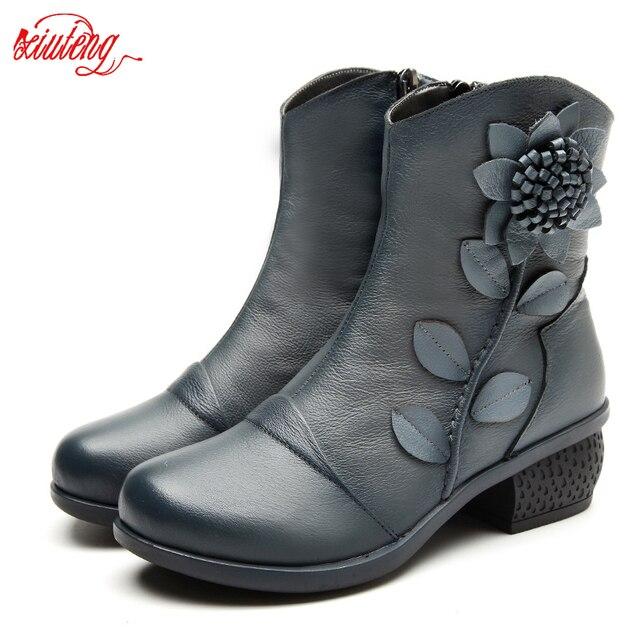 Kadın Bot Ayakkabı Kadın El Yapımı Vintage Hakiki Deri Düşük Topuklu Ayakkabı Yuvarlak Ayak Yüksek Kaliteli Ayakkabı Kış moda ayakkabılar Kadınlar