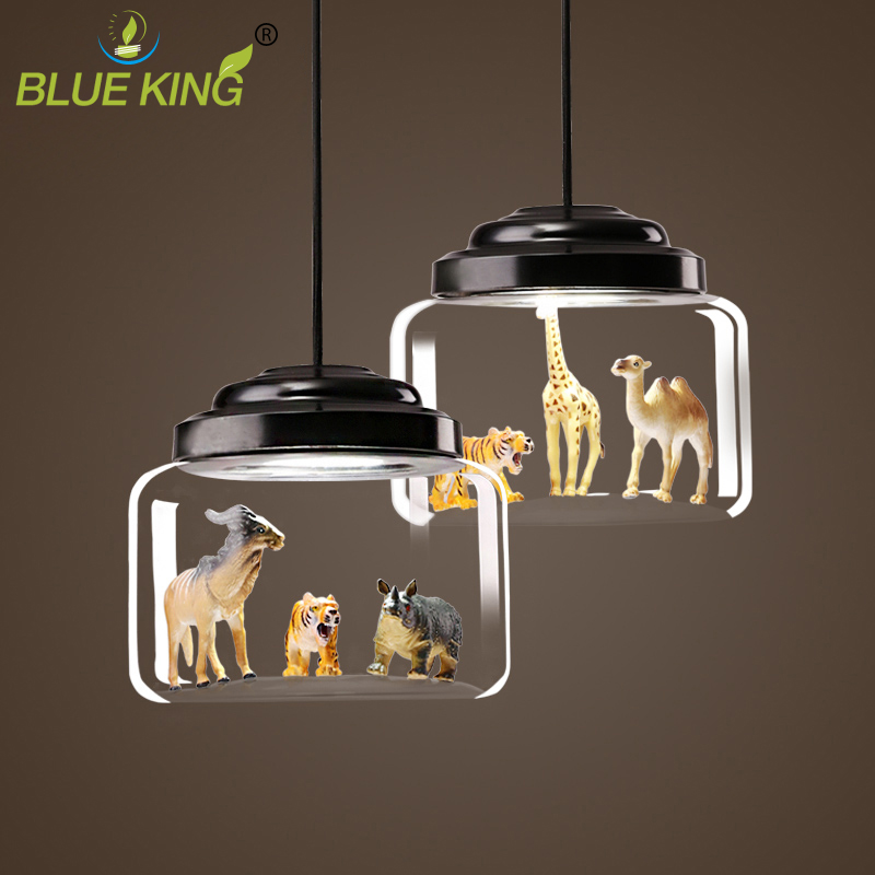 New Classical modern Nordic glass led ceiling lights with small PVC Novelty animals led hanging lamps for bedroom kids room