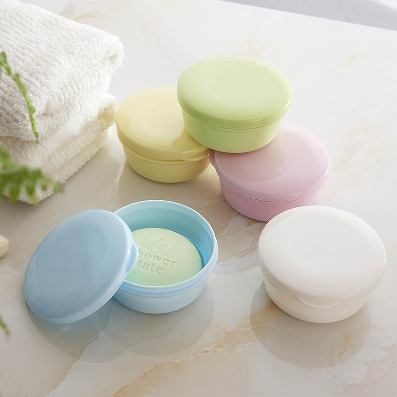 Portable Color Soap Dish Box Case Holder Container Wash Shower Home Bathroom Sealed Soap Case Round Travel Supplies