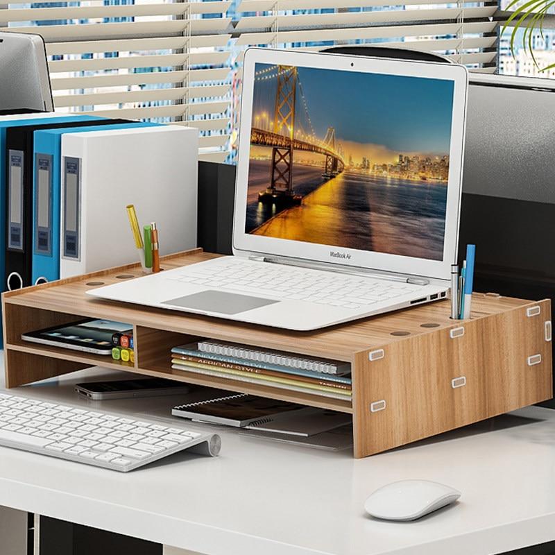 Moniteur de bureau en bois support de colonne montante sur la boîte de rangement organisateur de bureau clavier pour ordinateur portable TV