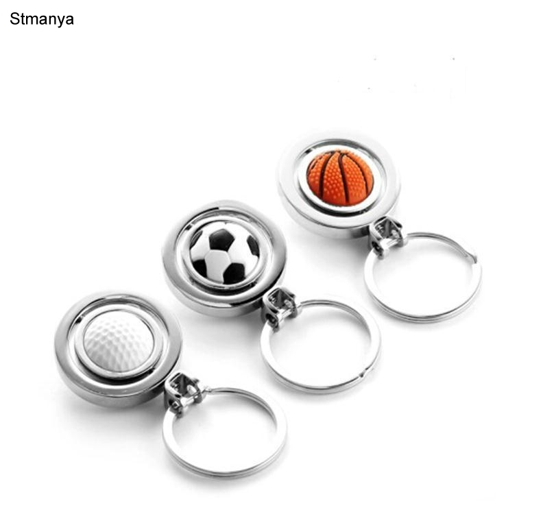 3 Desing Rotation Football metal Keychain golf basketball Car Key Chain Key Ring key pendant For Man Women Gift Jewelry #17122
